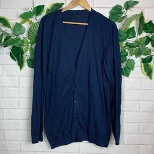 ASOS Men's navy blue cardigan sweater size large